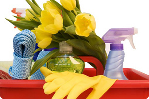 Spring cleaning basket with flower